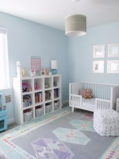 :: Blue Girl's Room :: Benjamin Moore Polar Ice 1660 :: Toddler Bed :: Bookshelf with Toy Bins :: Grey Blue Purple Area Rug ::
