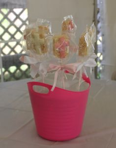 DIY Girl Baptism Centerpiece Pink/White Chocolate Crosses on Rice Krispie Treat Lollipops