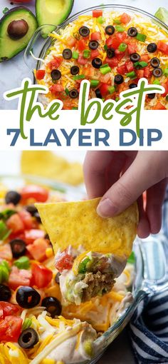 This 7 Layer Dip is extra creamy and cheesy thanks to the cream cheese! So easy and always a huge hit with our friends! Sometimes we use canned beans and store bought guacamole, and sometimes we use homemade. It's good both ways! 7 Layer Bean Dip, 7 Layer Taco Dip, 7 Layer Dip Recipe, Layered Bean Dip, Seven Layer Dip, 7 Layer Mexican Dip, Mexican Bean Dip, Bean Recipes, Dip Recipes