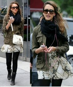Jessica alba. I love every single thing about this outfit! Green army jacket, black scarf, over the shoulder bag, patterned skirt, tights, army boots:)