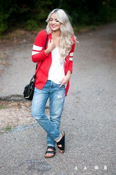 Throwback! We are loving this letterman-inspired cardigan featuring @Forever 21 and @Birkenstock USA - See more at: http://www.fashionindie.com/post/university-look-clothing-sale#sthash.gjRkWQvR.dpuf by @Cara Loren  #fashion #blogger