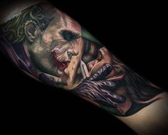 An astounding gallery of various joker tattoo designs that would make you want to have one inked. Here we discuss the history and different designs of joker tattoos. 3d Tattoos, Forearm Tattoos, Sexy Tattoos, Life Tattoos, Body Art Tattoos, Sleeve Tattoos, Tattoos For Guys, Joker Tattoos, Creative Tattoos