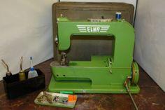 Vtg Elna Swiss Sewing Machine Grasshopper with Accessories - Switzerland Green