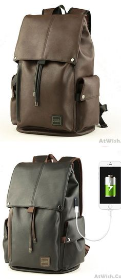 Men s PU Leather Draw String Large School Bag With USB Interface Capacity  Flap Hiking Backpack for 15b13b8e54