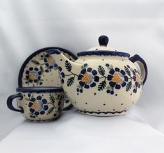 Polish Pottery - Blue Daisy From Murchies Tea