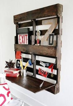 From pallet to compact wall desk...for underneath the boys' loft beds