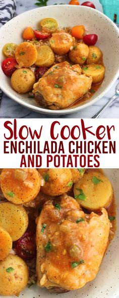 Slow cooker enchilada chicken and potatoes makes an easy and hearty dinner! Throw just about everything in the crock pot to cook, then add a simple slurry and shredded cheese to thicken the sauce shortly before serving. Serve over rice, quinoa, or couscous.