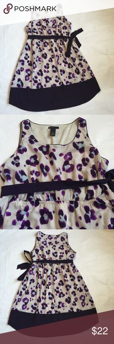 Floral Dress Lane Bryant floral purple and gray dress. Size 14/16. Approx 40in in length and armpit to armpit is approx 21in. Has an elastic waist so a lot of give and detachable purple tie belt. Shell and lining are 100% polyester.  Worn once. Smoke free home. Lane Bryant Dresses Midi