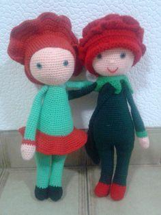 Poppy Paola and Rose Roxy dolls made by Ayelen K - crochet pattern by Zabbez