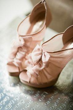 ruffled blush heels