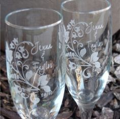 Fall in Love Engraved Wedding Glass Toasting Flutes by Laserbird, $24.00