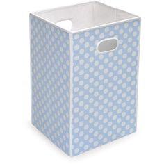 Badger Basket - Folding Hamper/Storage Bin, Blue with White Polka Dots