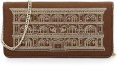 Love Moschino Metallic House Of Moschino Printed Wallet Clutch, Camel/Bronze