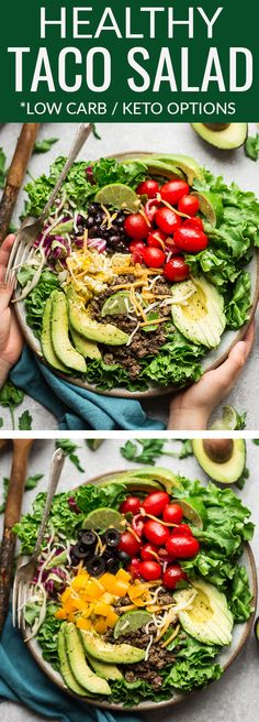 Healthy Taco Salad - a quick & delicious lunch or light dinner perfect for busy weeknights. Best of all, ground turkey or beef is seasoned in a homemade Tex-Mex mix with keto & low carb options. Green, romaine, butter lettuce, cherry tomatoes, black beans, cabbage, avocado & corn. For low carb serve with green olives & peppers. Great for Mexican themed / Cinco de Mayo meal prep Sunday mealprep. #mealprep #keto #lowcarb #taco #salad #mexican #tacotuesday #healthy #lunchbox #cincodemayo…