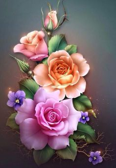 Details about Spring Roses - Chart Counted Cross Stitch Patterns Needlework for embroidery - Tattoos - Blumen Flower Wallpaper, Wallpaper Backgrounds, Wallpapers, 5d Diamond Painting, Flower Pictures, Color Rosa, Beautiful Roses, Flower Art, Drawings