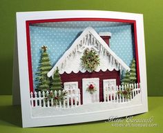 Snowy Roof, Brick House, Square House, Fence Border, Evergreen Trees, Sun and Moon (star)