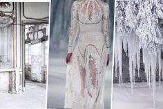 A mosaic of ice shard overlays, luminous gowns and an enchanting pale light, reminiscent of the moon… Wedding Theme Inspiration, Wedding Themes, Wedding Styles, Style Inspiration, Wedding Dresses, Wedding Mood Board, Wedding Wishes, Style Guides, Gowns