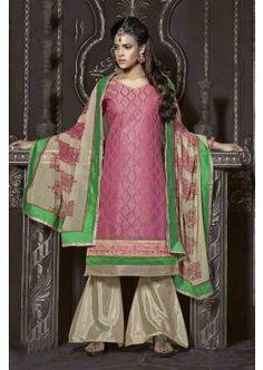 couleur rose churidar Chanderi costume, - 78,00 €, #Robeindienne #Tenueindienne #Salwarkameezfemme #Shopkund