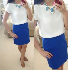 Loft Boatneck Tee Blouse + blue skirt + statement necklace + pumps + new arrivals // Details here: http://www.stylishpetite.com/2013/07/loft-boatneck-tee-blouse-cabochon-blue.html