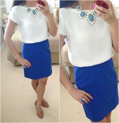 Loft Boatneck Tee Blouse + blue skirt + statement necklace + pumps + new arrivals // Details here: http://www.stylishpetite.com/2013/07/loft-boatneck-tee-blouse-cabochon-blue.html