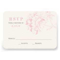 Wedding RSVP Cards | Pink Floral Peony  | Visit the Zazzle Site for More: http://www.zazzle.com/?rf=238228028496470081
