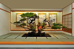 前田邸の大砂物(復元) 撮影 木村尚達 池坊専好(初代)が文禄3年(1594)、前田利家邸で立てたとされる大砂物を、平成24年(2012)に復元したもの。砂物は、器に砂を敷きつめることからその名がある。背後の掛軸に描かれた猿が、松の枝の上で戯れているように見えたという。 豊臣秀吉によって天下統一が成し遂げられた安土桃山時代、城郭や武家屋敷に大きな床の間が設けられ、そこに飾る花が池坊に依頼されました。 池坊専好(初代)は文禄3年(1594)、秀吉を迎えた前田利家邸の四間床に大砂物を立て、「池坊一代の出来物」と称賛されたといわれます。慶長4年(1599)には、京都の大雲院で開かれた花会に専好(初代)の弟子100人が出瓶し、多くの人々が見物に訪れました。