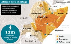 Map of Africa's Food Shortage Areas Horn Of Africa, Africa Map, Un Refugee, Volunteer Services, Addis Ababa, We Remember, Extreme Weather, Cartography, Ethiopia