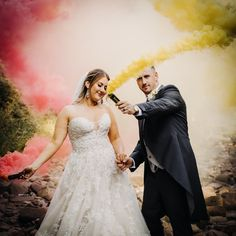 Having fun with smoke grenades at a recent wedding at Craig y Nos Castle, Brecon, Wales. By Sarah Elvin Photography Craig Y Nos Castle, Grenades, England And Scotland, Lake District, Rustic Style, Formal Dresses, Wedding Dresses, Weddingideas, Wales
