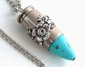 Upcycled Bullet Pendant Necklace Ammo Jewellery Cowgirl Jewelry - Southwestern Beauty