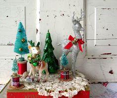 Into Vintage: a vintage Christmas giveaway  deer ornaments bottle brush tree