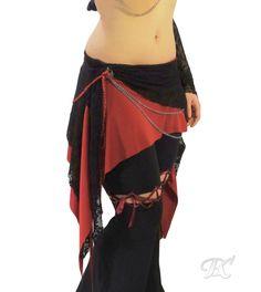 Tribal Belly Dance Hip Skirt / fusion bellydance costuming, festival pixie skirt, dance overskirt, layered mini skirt, dancewear