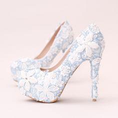 c002b628e6 Barato Flor Do Laço azul Mulheres Bombas da Plataforma de Salto Alto Strass  Branco Casamento Sapatos
