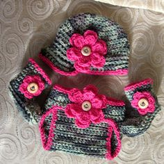 Camouflage Camo Baby Girl Hat Booties and Diaper by vbirschbach