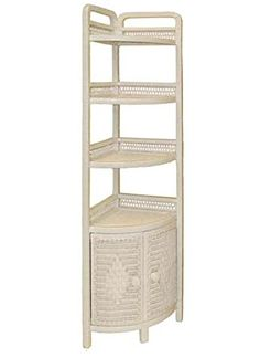 Bathroom or Kitchen Indoor Wicker Corner standing shelf with 2 doors, White Stain * Remarkable product available now. Decor, White Stain, Shelves, Home Decor, Blue Bathroom, Standing Shelves, Corner Shelves, Wicker, Indoor