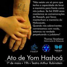 """Ato de Yom Hashoá acontece no domingo, 1 de maio, na A Hebraica. Evento será aberto a toda comunidade. A Federação Israelita do Estado de São Paulo, A Hebraica e o Conselho Juvenil Sionista, promovem, no dia 01o de maio (domingo), às 19h, no Teatro Arthur Rubinstein de A Hebraica, o """"Ato de Yom Hashoá""""…"""