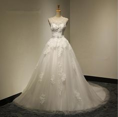 Bridal Sexy Ball Gown Backless Appliques Crystal Beadings