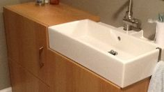 "Combine Ikea Lillangen sink with Besta cabinet to get a vanity that's only 16"" deep (and only $250!)"