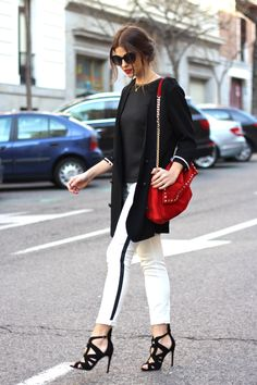 #howtowear red... keep it classic by teaming with monochrome #inspiration #annalouoflondon