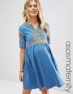 a73bb876855 ASOS Maternity Denim Embroidered Smock Dress in Mid Wash Blue Maternity Wear