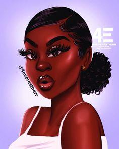 Black Love Art, Black Girl Art, Black Girls Rock, Black Art Painting, Black Artwork, Natural Hair Art, Natural Hair Styles, Cabello Afro Natural, Drawings Of Black Girls