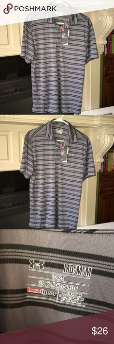 NWT men's golf shirt. Gray and black stripe. I bought it for my dad and he said he didn't need it. 🙄 Under Armour Shirts Polos