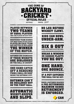 The rules of Backyard Cricket from the Commonwealth Bank… Cricket Games, Test Cricket, Cricket Sport, Cricket News, Cricket Poster, Cricket Wedding, Game Room Bar, Restaurant Concept, Australia Day