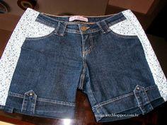 Jeans Refashion, Diy Shorts, Denim Ideas, Denim Crafts, Recycle Jeans, Short En Jean, Clothing Hacks, Diy Dress, Denim Fashion