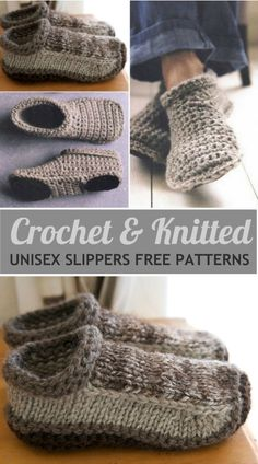 Unisex Slippers Crochet And Knitted Free Patterns You will love these Unisex Crochet and Knitted Slippers and we have free patterns for both. Check them all out now and Pin your favorites. Knit Slippers Free Pattern, Crochet Socks, Knitted Slippers, Crochet Clothes, Knit Crochet, Sewing Slippers, Easy Knitting, Knitting Socks, Knitting Patterns Free