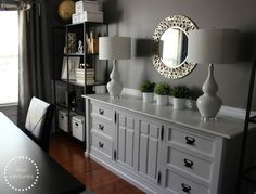Formal Dining Room Turned Home Office, We decided to turn our underused formal dining room into a home office.  We combined new furniture & ...