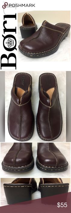 Born Signature Leather Clogs Born Signature Leather Clogs in Classic Brown and Tan Stitching, Perfect with a Pair of Jeans for that Sleek Casual Style, Size 8 Tag, Super Cute and Extremely Comfortable, Used In Excellent Condition Born Shoes Mules & Clogs