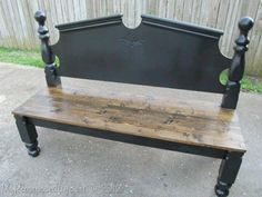 Recycled headboard bench    paint everything but the seat, seat gets distressed and stained!
