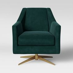 Project 62 Tate Swivel Chair with Metal Base - Project 62 Velvet Armchair, Swivel Armchair, Armchair Covers, Modern Swivel Chair, Modern Chairs, Modern Armchair, Modern Furniture Online, Glider And Ottoman, Wood Arm Chair