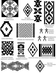 Risultati immagini per mapuche simbolos Native Symbols, Ancient Symbols, Arte Latina, Motifs Aztèques, Inkle Weaving, Inka, Tattoo Hals, Native Design, Ethnic Patterns