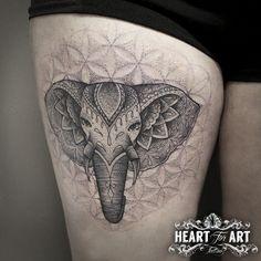 Dotwork Elephant Tattoo